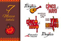 Mexico holiday labels set royalty free illustration