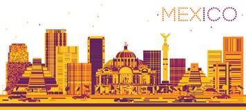 Mexico horisont med färgbyggnader