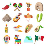 Mexico icons cartoon Stock Image