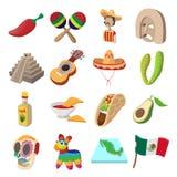 Mexico icons cartoon Stock Image