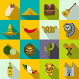 Mexico icons flat Royalty Free Stock Image