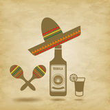 Mexico icons grunge background Royalty Free Stock Photos
