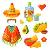 Mexico icons illustration traditional graphic travel tequila alcohol fiesta drink ethnicity aztec maraca sombrero. Mexico icons illustration. Latino party vector illustration