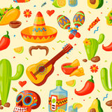 Mexico icons seamless pattern vector illustration. Latino party nachos, taco spesialy food. Traditional graphic travel tequila alcohol fiesta drink. Ethnicity Royalty Free Stock Photography