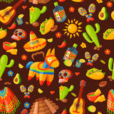 Mexico icons seamless pattern vector illustration. Latino party nachos, taco spesialy food. Traditional graphic travel tequila alcohol fiesta drink. Ethnicity Stock Photos