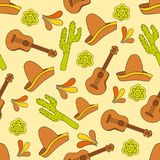 Mexico icons seamless pattern - Traditional mexican elements background Royalty Free Stock Images