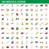 100 mexico icons set, cartoon style. 100 mexico icons set in cartoon style for any design illustration vector illustration