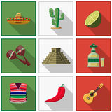 Mexico icons set, mexican symbols Stock Photo