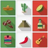 Mexico icons set, mexican symbols Stock Photo