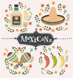 Mexico icons set Royalty Free Stock Images