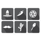 Mexico icons set on white background Stock Photo