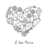 Mexico. Icons in the shape of a heart Royalty Free Stock Photography