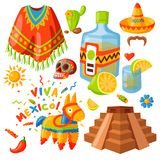Mexico icons vector illustration traditional graphic travel tequila alcohol fiesta drink ethnicity aztec maraca sombrero. Mexico icons vector illustration Royalty Free Stock Images