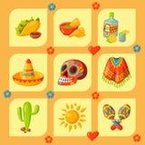 Mexico icons vector illustration traditional graphic travel tequila alcohol fiesta drink ethnicity aztec maraca sombrero vector illustration