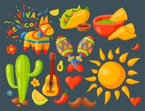 Mexico icons vector illustration traditional graphic travel tequila alcohol fiesta drink ethnicity aztec maraca sombrero. Mexico icons vector illustration Stock Photos