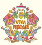 Mexico illustrations collection. Colorful elements for design Royalty Free Stock Images