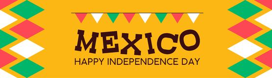 Mexico independence day banner background. Mexico happy independence day illustration background. Mexican multicolor national event celebration design banner royalty free illustration