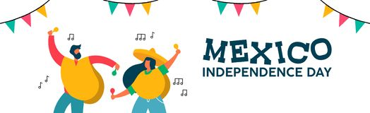 Mexico independence day banner of fun friend party. Mexico Independence day web banner illustration. Mexican friend party with typical hat poncho and maracas for royalty free illustration