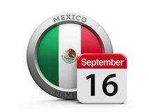 Mexico Independence Day. Emblem of Mexico with calendar button - The Sixteenth of September - represents the Mexico Independence Day, three-dimensional rendering Stock Photo