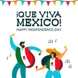 Mexico Independence Day mexican people at party. Mexico Independence day illustration. Fun mexican friends at party with typical hat poncho and maracas for stock illustration