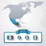 Mexico info card. Mexico on the map of North America with flags Royalty Free Stock Photo
