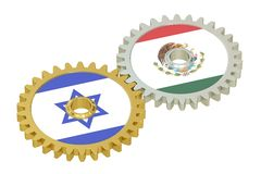 Mexico and Israel flags on a gears, 3D rendering Stock Image