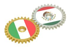 Mexico and Italy flags on a gears, 3D rendering Royalty Free Stock Photo