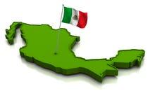 Mexico - Kaart en Vlag Stock Afbeeldingen