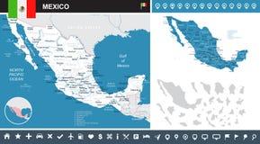 Mexico - kaart en vlag - infographic illustratie vector illustratie