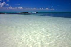 Mexico lagoon's isla contoy and  motor-boat Royalty Free Stock Photo