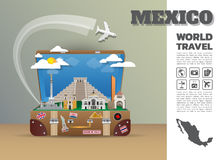 Mexico Landmark Global Travel And Journey Infographic luggage.3D. Design Vector Template.vector/illustration. can be used for your business, advertisement or Stock Image