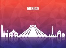 Mexico Landmark Global Travel And Journey paper background. Vect. Or Design Template.used for your advertisement, book, banner, template, travel business or Royalty Free Stock Photos