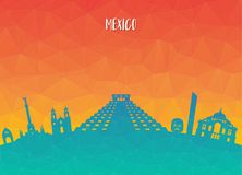 Mexico Landmark Global Travel And Journey paper background. Vect. Or Design Template.used for your advertisement, book, banner, template, travel business or Stock Images