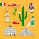 Mexico landmarks icons Stock Photos