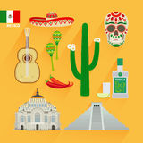 Mexico landmarks icons vector illustration