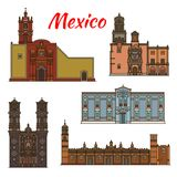 Mexico landmarks vector architecture line icons Royalty Free Stock Image