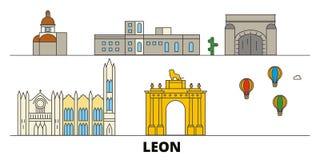 Mexico, Leon flat landmarks vector illustration. Mexico, Leon line city with famous travel sights, skyline, design. Mexico, Leon flat landmarks vector stock illustration