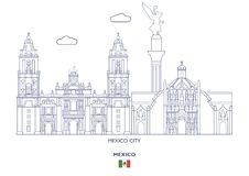 Mexico Linear City Skyline Royalty Free Stock Images
