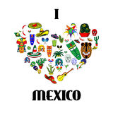 Mexico love - heart with set of  illustrations Royalty Free Stock Photo
