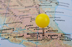 Mexico. Macro shot of a map showing Mexico City Royalty Free Stock Image