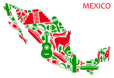 Mexico map. Map of Mexico from national symbols stock illustration