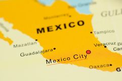 Mexico on map. Close up of Mexico City, Mexico on map royalty free stock image