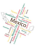 Mexico Map and Cities. Mexico map and words cloud with larger cities vector illustration