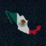 Mexico map flag on hex code illustration. Retro 8 bit pixellated Mexico map flag on hex code illustration Stock Photo