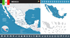 Mexico - map and flag - infographic illustration. Mexico map and flag - highly detailed  illustration Stock Photography
