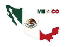 Mexico, map with flag, isolated on white Royalty Free Stock Photo