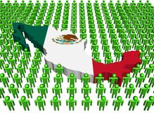 Mexico map flag with many people royalty free illustration
