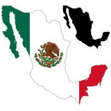 Mexico map flag. On a white background. Vector illustrator Royalty Free Stock Photo