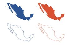Mexico Map. Four vector map of Mexico Blue Red America silhouette illustration stock illustration