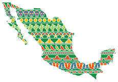 Mexico Map with Icons Stock Image